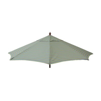 9 Market Umbrella Color: Tri Color Stripe Sea Blue/Taupe/Olive