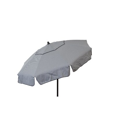 6' Beach Umbrella Color: Grey and Black Thin Stripe