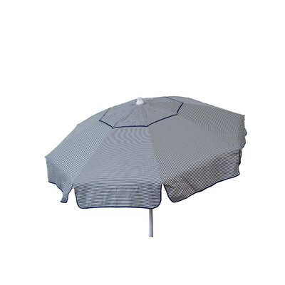 6' Beach Umbrella Color: Vanilla and Navy Thin Stripe
