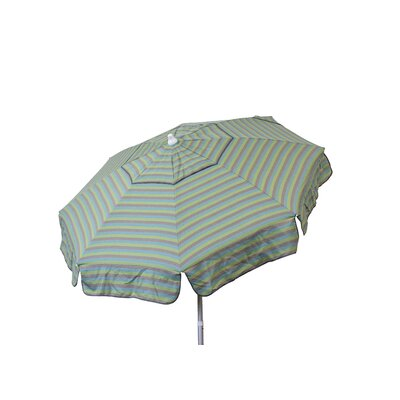 6 Beach Umbrella Color: Sea Blue/Taupe/Olive Tri Color Stripe