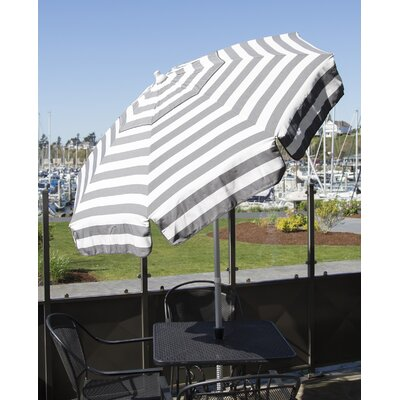6' Drape Umbrella Fabric: Steel Grey and White