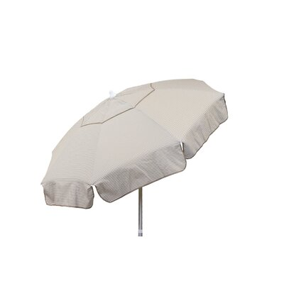6 Beach Umbrella Color: Vanilla and Taupe Thin Stripe