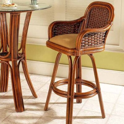 Moroccan 30 Swivel Bar Stool Feature: With Arms, Color: Urban Mahogany, Upholstery: 953
