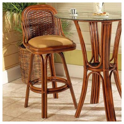 Moroccan 30 Swivel Bar Stool Feature: Without Arms, Color: Urban Mahogany, Upholstery: 633