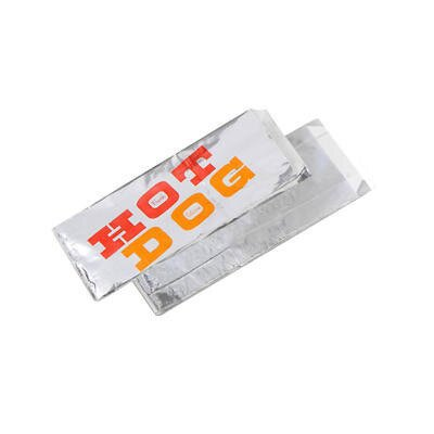 """8.5"""" x 1.5"""" x 3.5"""" Paper-Lined Foil Hot Dog Bags in Silver BGC300455"""