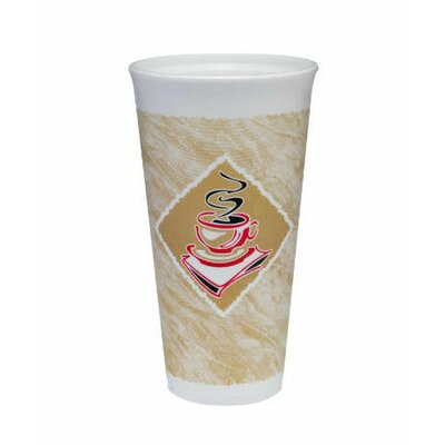 20 Oz Caf� G Design Foam Hot / Cold Cups in White / Brown with Red Accents (Pack of 20) DCC20X16GPK