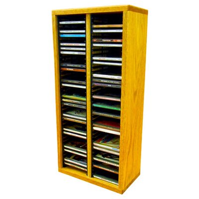 Multimedia Storage Rack Size: 26.88 H x 12.75 W x 6.75 D, Finish: Honey Oak