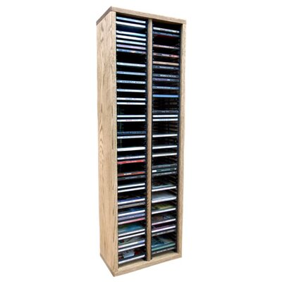 Multimedia Storage Rack Size: 39.44 H x 12.75 W x 6.75 D, Color: Unfinished