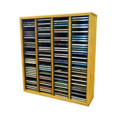 Multimedia Storage Rack Size: 26.88 H x 24.75 W x 6.75 D, Color: Honey Oak