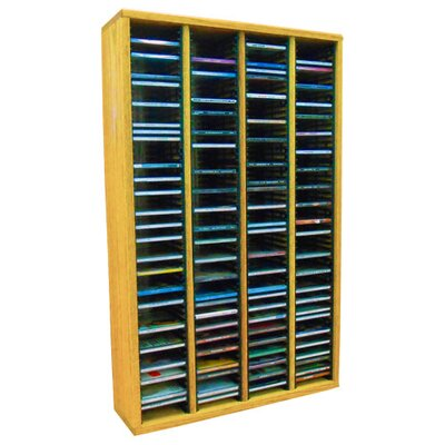Multimedia Storage Rack Size: 39.44 H x 24.75 W x 6.75 D, Color: Honey Oak