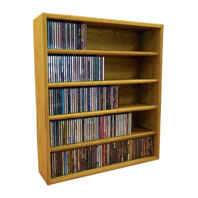 Multimedia Storage Rack Size: 30.75 H x 26.88 W x 6.75 D, Color: Honey Oak