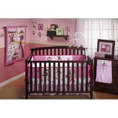 3 Little Monkey Pink 10 Piece Crib Bedding Set 7374660