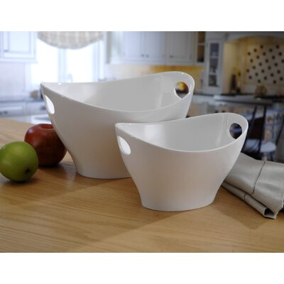 Chefs Table Medium Handled Serving Bowl In White