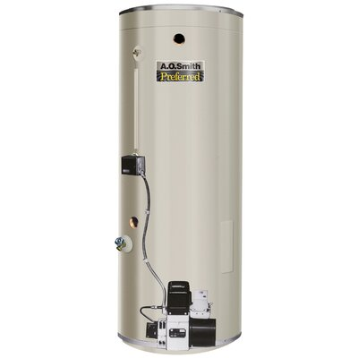 COF-455A Commercial Tank Type Water Heater Oil Fired 75 Gal Lime Tamer 455,000 BTU Input