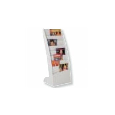 8 Pocket Curved Floor Literature Display Finish: Grey