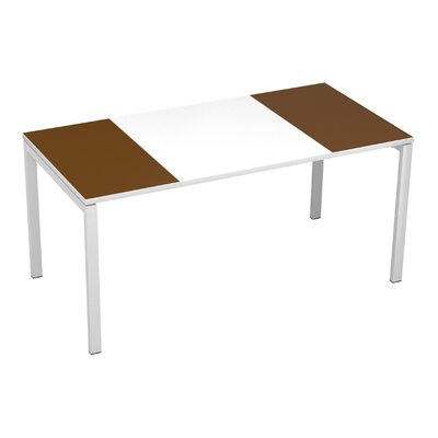 EasyDesk Training Table Color: White / Brown, Size: 30 H x 55 W x 32 D
