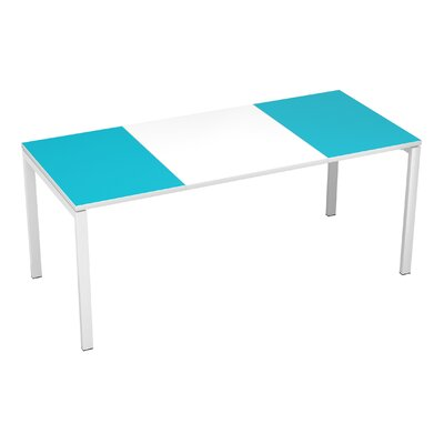 EasyDesk Training Table Color: White / Teal, Size: 30 H x 71 W x 32 D