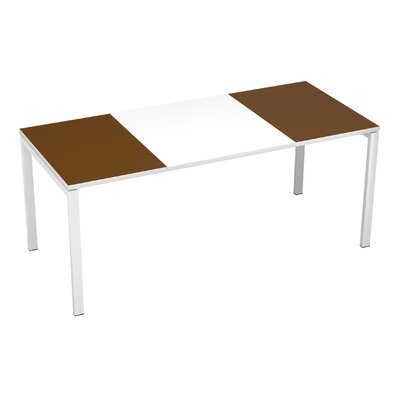EasyDesk Training Table Color: White / Brown, Size: 30 H x 71 W x 32 D