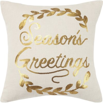 Seasons Greetings Sequin Embroidered Linen Throw Pillow