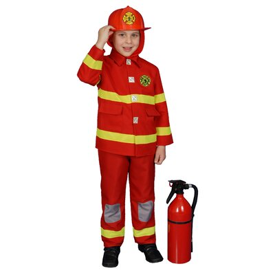 Dress Up America Boy Fire Fighter Children's Costume in Red - Size: Large at Sears.com