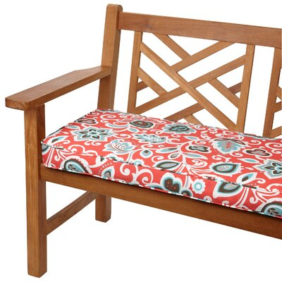 Dyer Outdoor Bench Cushion Size: 48 W x 19 D, Fabric: Floral Red