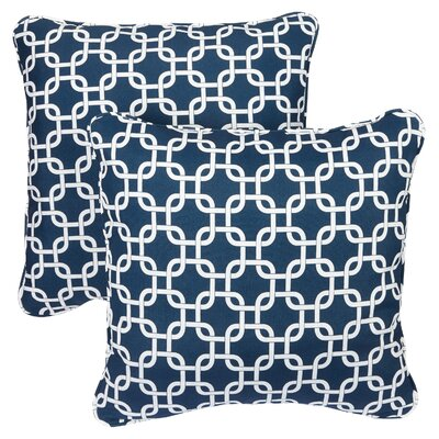 Midland Indoor/Outdoor Throw Pillow Size: 22 H x 22 W, Fabric: Knotted Navy
