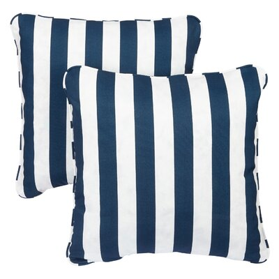 Luciano Indoor/Outdoor Throw Pillow Fabric: Striped Navy, Size: 18 H x 18 W
