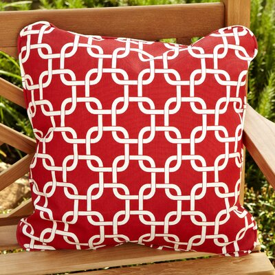 Midland Indoor/Outdoor Throw Pillow Fabric: Knotted Red, Size: 18 H x 18 W