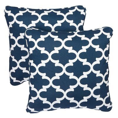 Lucian Indoor/Outdoor Throw Pillow Fabric: Scalloped Navy, Size: 18 H x 18 W