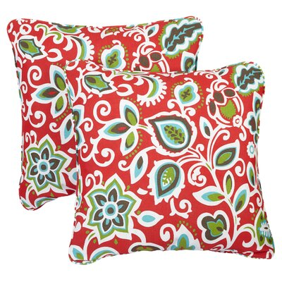 Midland Indoor/Outdoor Throw Pillow Size: 18 H x 18 W, Fabric: Knotted Red