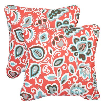 Midland Indoor/Outdoor Throw Pillow Size: 22 H x 22 W, Fabric: Knotted Coral