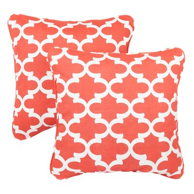 Midland Indoor/Outdoor Throw Pillow Fabric: Knotted Coral, Size: 18 H x 18 W