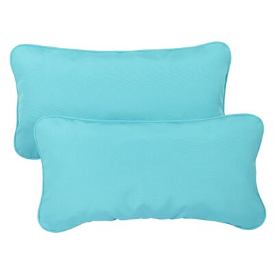 Derrytown Indoor/Outdoor Sunbrella Lumbar Pillow Size: 13 H x 20 W, Color: Aruba