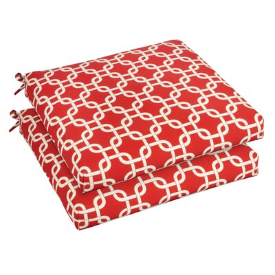 Bree Outdoor Dining Chair Cushion Fabric: Knotted Red, Size: 20 W x 20 D