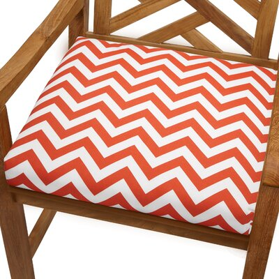 Bree Outdoor Dining Chair Cushion Size: 20 x 20, Fabric: Orange Chevron