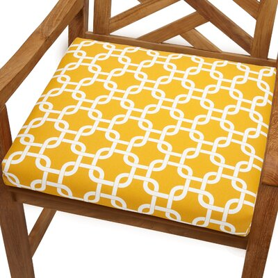 Bree Outdoor Dining Chair Cushion Fabric: Knotted Yellow, Size: 20 x 20