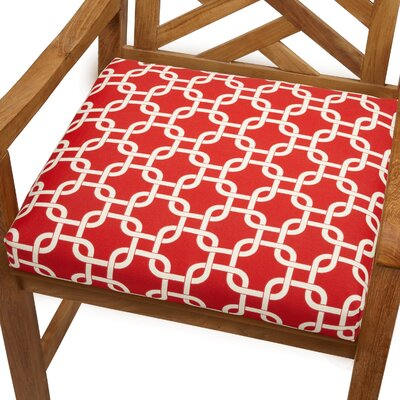 Bree Outdoor Dining Chair Cushion Size: 19 x 19, Fabric: Knotted Red