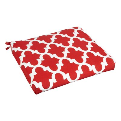 Bree Outdoor Dining Chair Cushion Fabric: Scalloped Red, Size: 20 W x 20 D