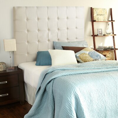 Franklin Square Linen Upholstered Panel Headboard Size: Full, Upholstery: Ivory