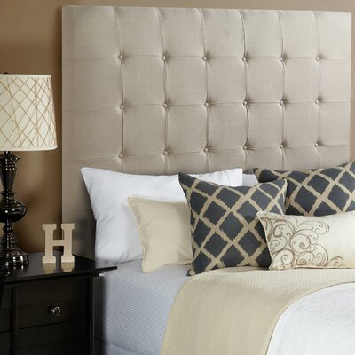 Franklin Square Linen Upholstered Panel Headboard Size: Full, Upholstery: Beige Linen