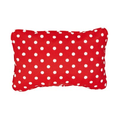 Corded Dots Outdoor Lumbar Pillow Size: 12 H x 24 W, Color: Red