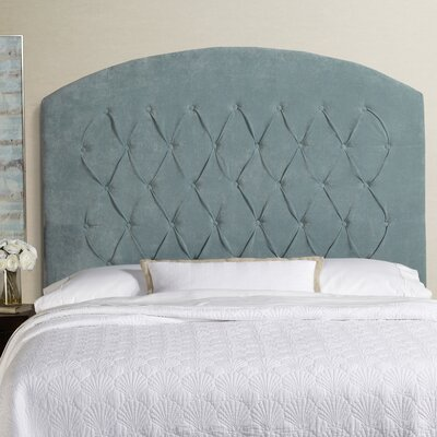 Lesa Tall Curved Upholstered Headboard Size: Tall Queen, Upholstery: Blue