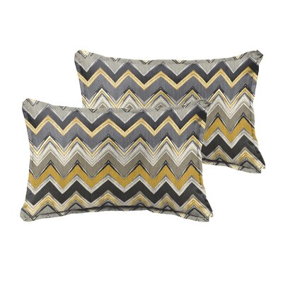 Pursley Outdoor Lumbar Pillow Size: 13 H x 20 W, Color: Grey / Gold