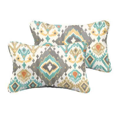 Camille Indoor/Outdoor Lumbar Pillow Size: 13x20, Color: Blue/Grey