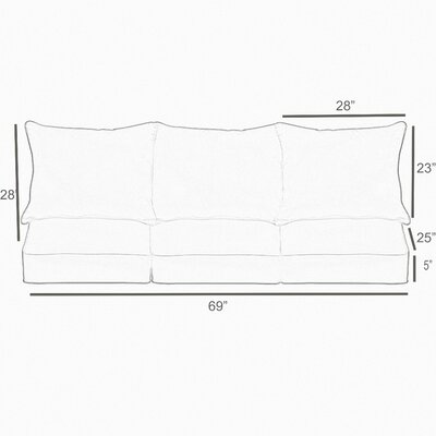 Piped 2 Piece Outdoor Sofa Cushion Set
