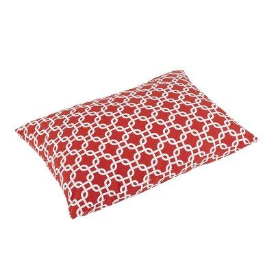 Replogle Knife Edge Indoor/Outdoor Rectangular Floor Pillow Color: Red/White