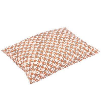Estelle Knife Edge Indoor/Outdoor Floor Pillow Color: Orange/White