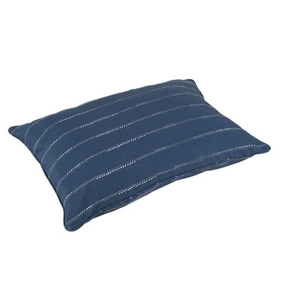 Balentine Piped Edge Indoor/Outdoor Floor Pillow Color: Navy/White