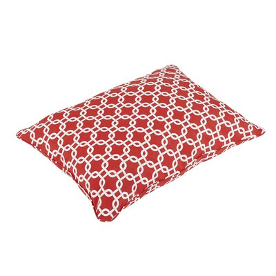 Replogle Piped Edge Indoor/Outdoor Floor Pillow Color: Red/White