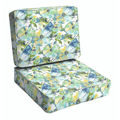Shoffner 2 Piece Floral Outdoor Lounge Chair Cushion Set